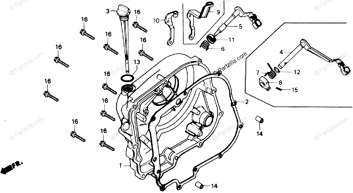 Honda Motorcycle 1985 OEM Parts Diagram for Right