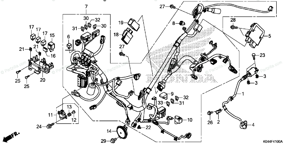Honda Scooter 2015 OEM Parts Diagram for Wire Harness