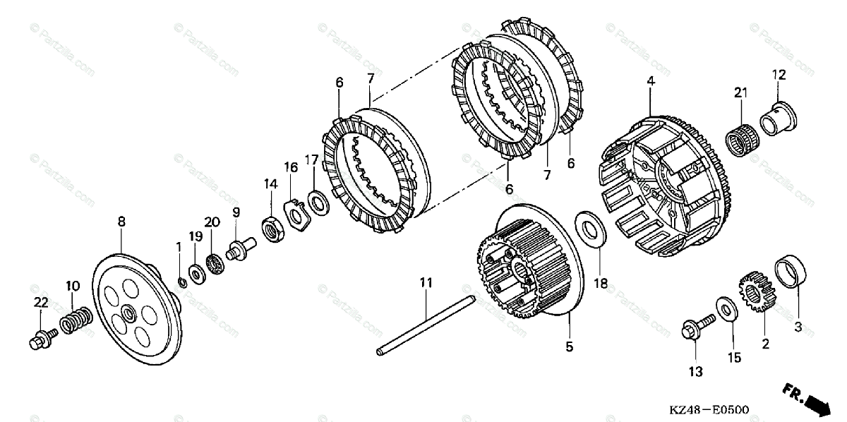 Honda Motorcycle 2003 OEM Parts Diagram for Clutch
