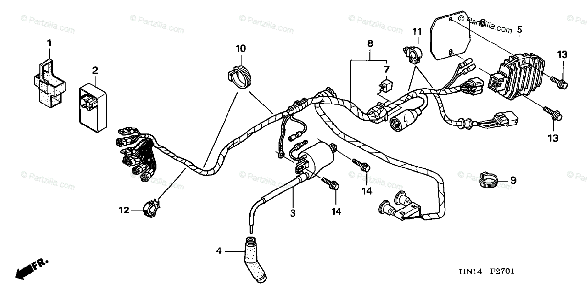 Honda ATV 2006 OEM Parts Diagram for Wire Harness ('05-'06