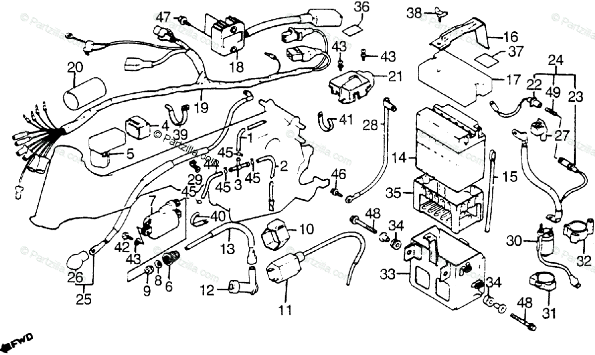 Honda ATV 1984 OEM Parts Diagram for Wire Harness / Coil