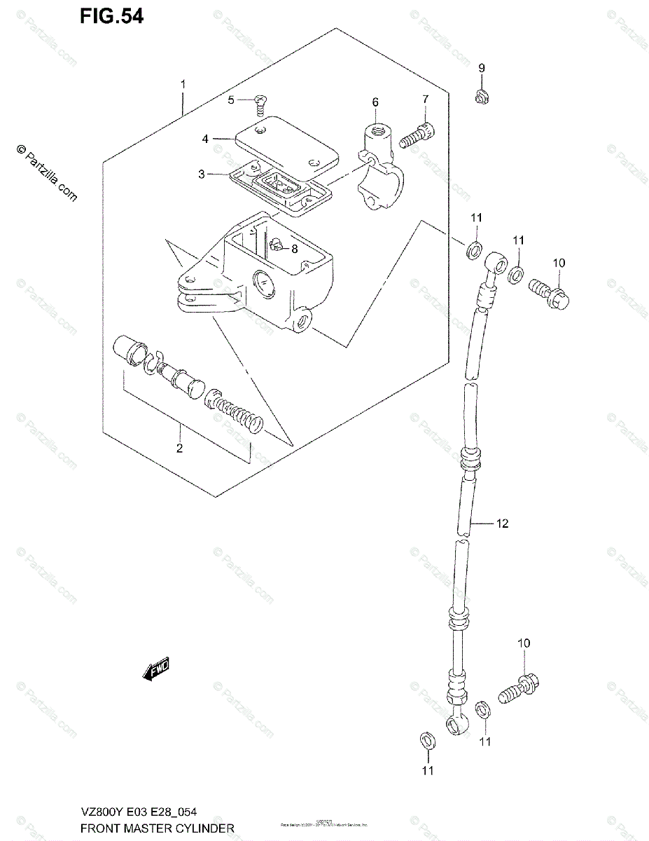 Suzuki Motorcycle 2003 OEM Parts Diagram for Front Master