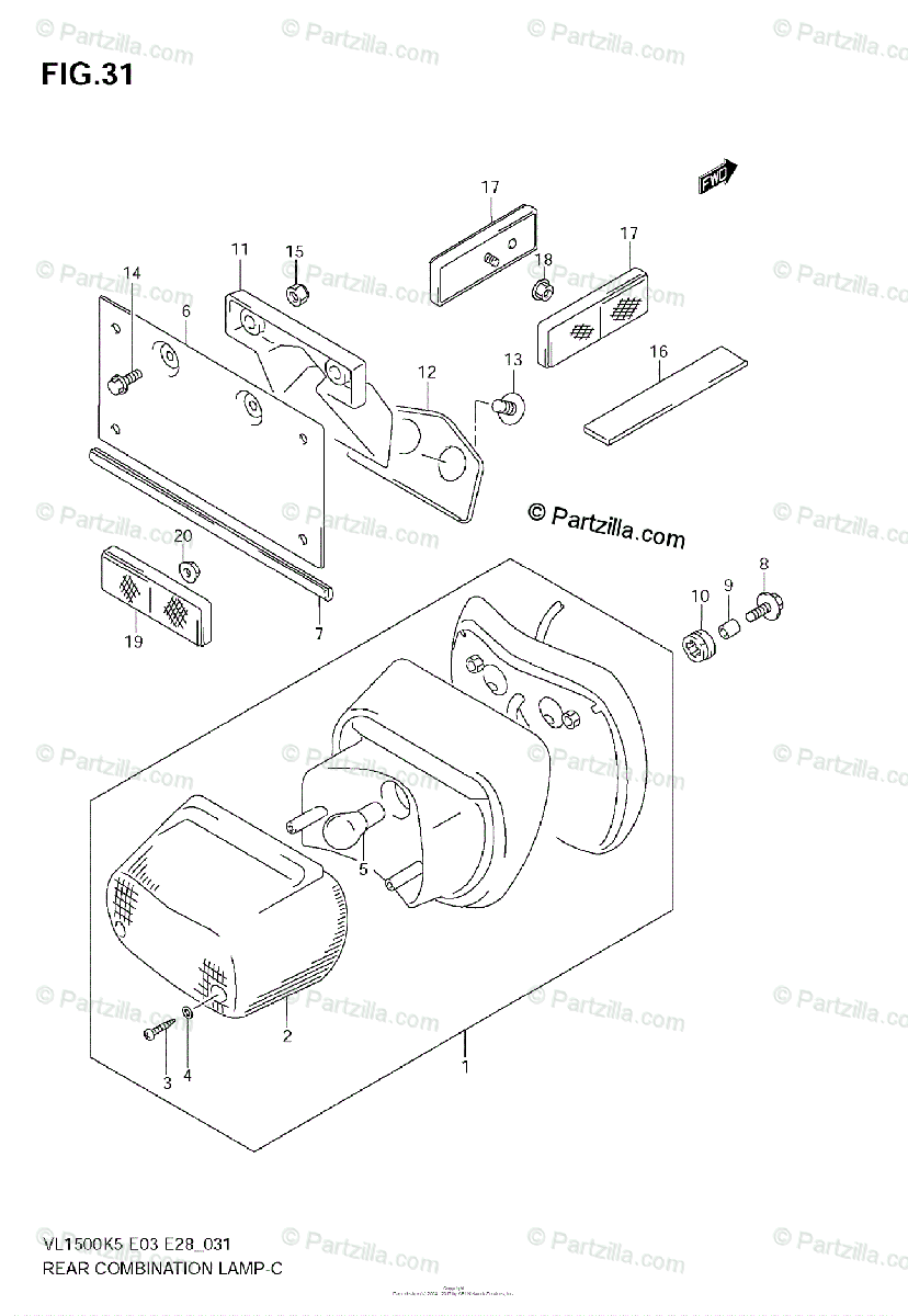 Suzuki Motorcycle 2005 OEM Parts Diagram for REAR