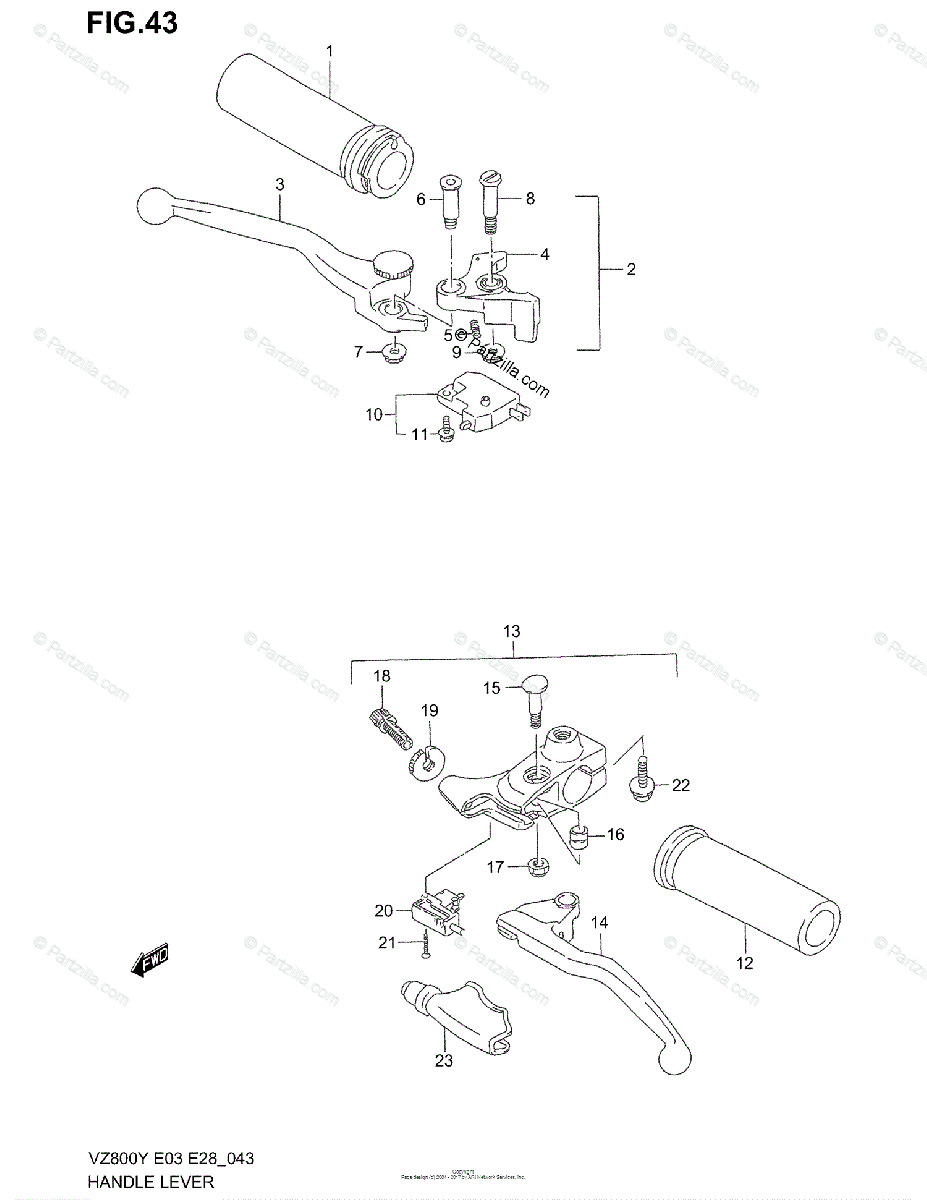 Suzuki Motorcycle 2000 OEM Parts Diagram for Handle Lever