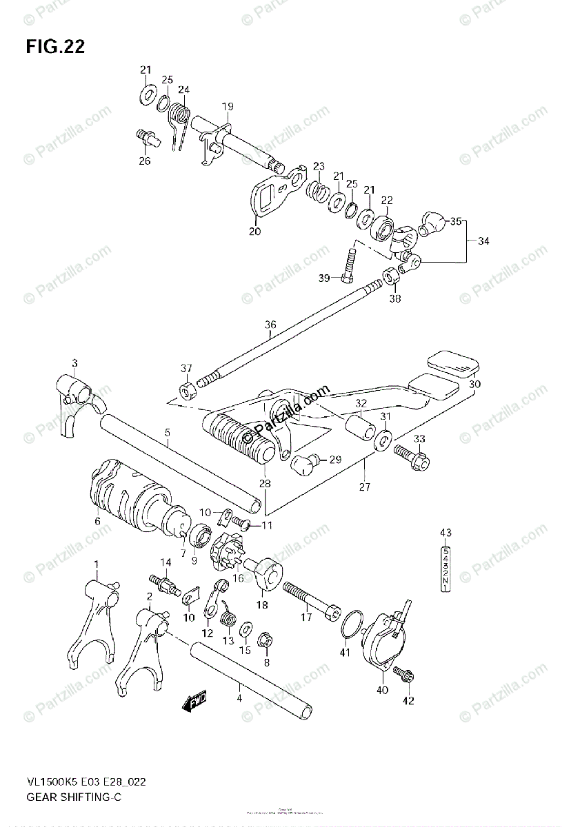 Suzuki Motorcycle 2005 OEM Parts Diagram for GEAR SHIFTING