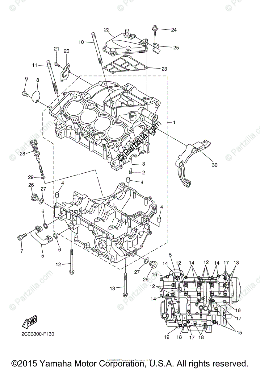 Yamaha Motorcycle 2008 OEM Parts Diagram for Crankcase