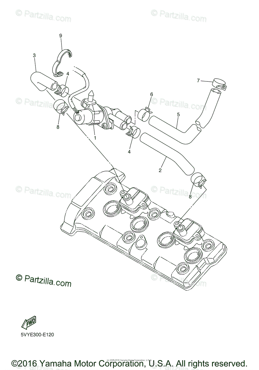 Yamaha Motorcycle 2006 OEM Parts Diagram for Air Induction