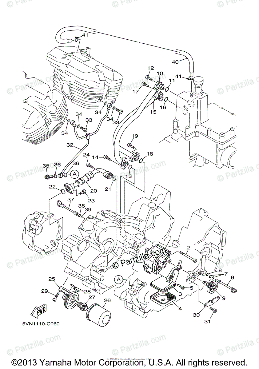 Yamaha Motorcycle 2005 OEM Parts Diagram for Oil Pump