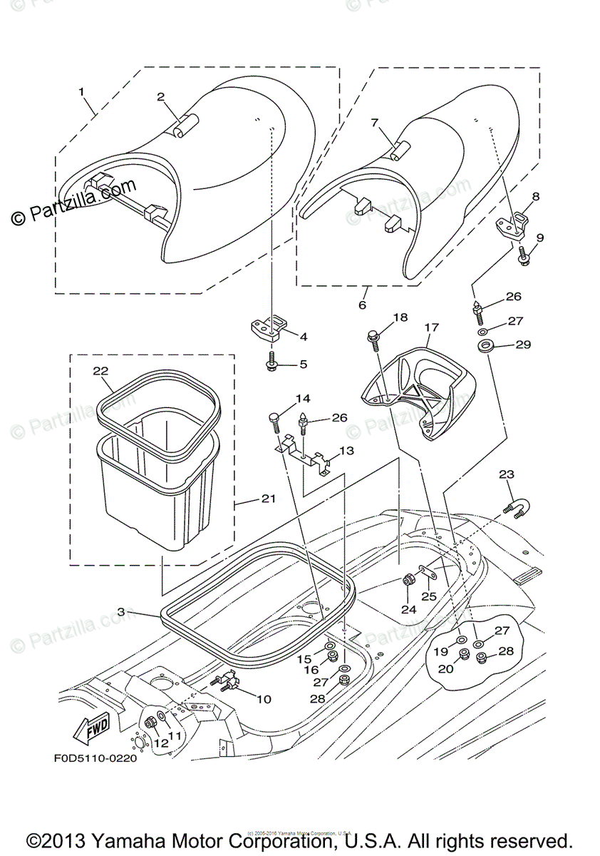 Yamaha Waverunner 2000 OEM Parts Diagram for Seat & Under