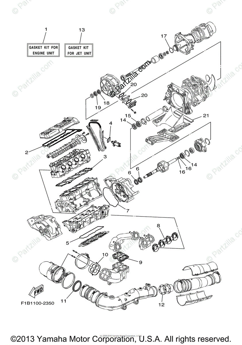 Yamaha Waverunner 2004 OEM Parts Diagram for Repair Kit 1
