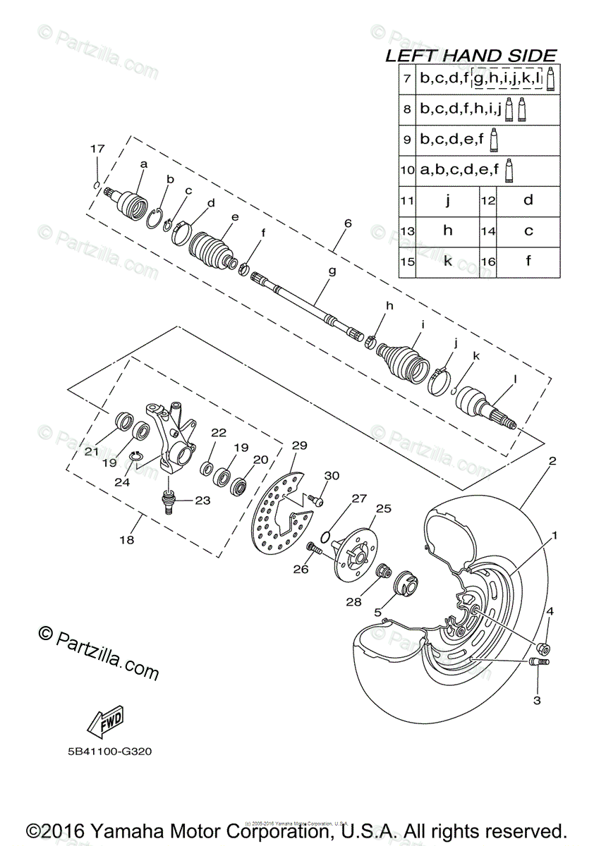 Yamaha Side by Side 2009 OEM Parts Diagram for Front Wheel