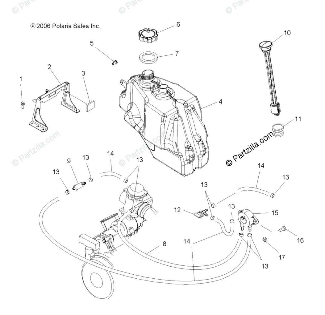 Polaris Atv Oem Parts Diagram For Fuel System