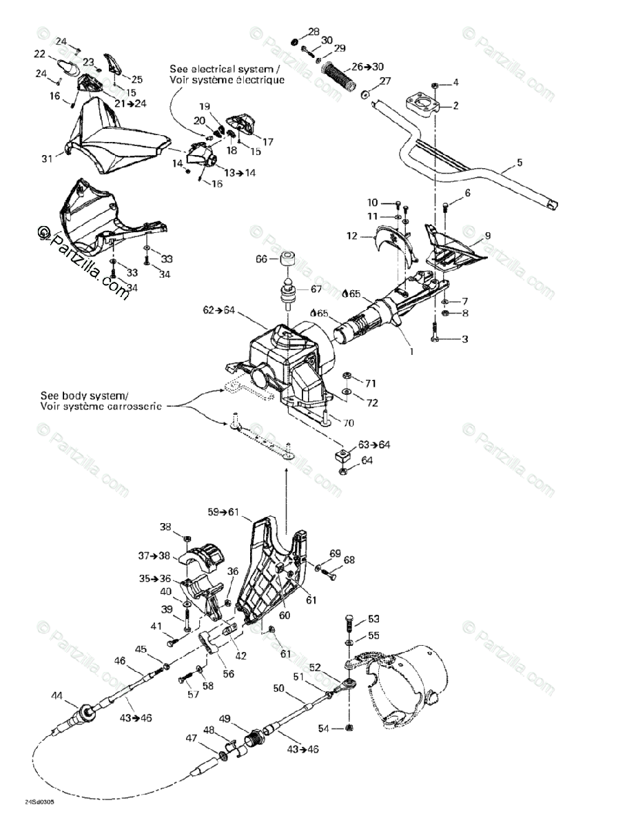 Sea-Doo 2003 GTX 4-TEC OEM Parts Diagram for Steering
