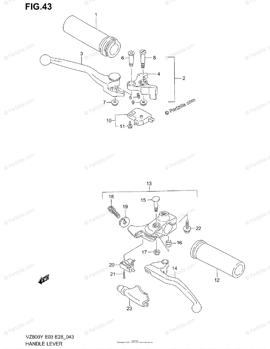 Suzuki Motorcycle 1998 OEM Parts Diagram for Handle Lever