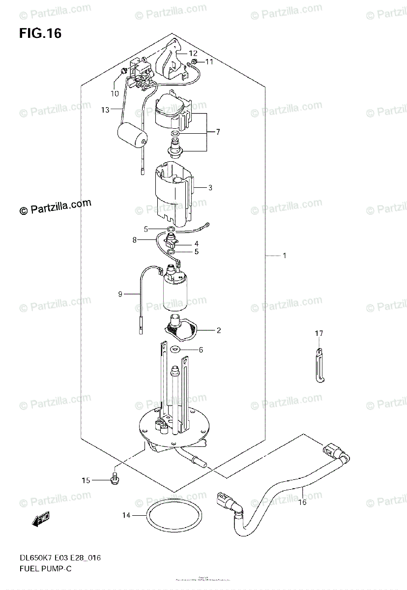 Suzuki Motorcycle 2007 OEM Parts Diagram for FUEL PUMP