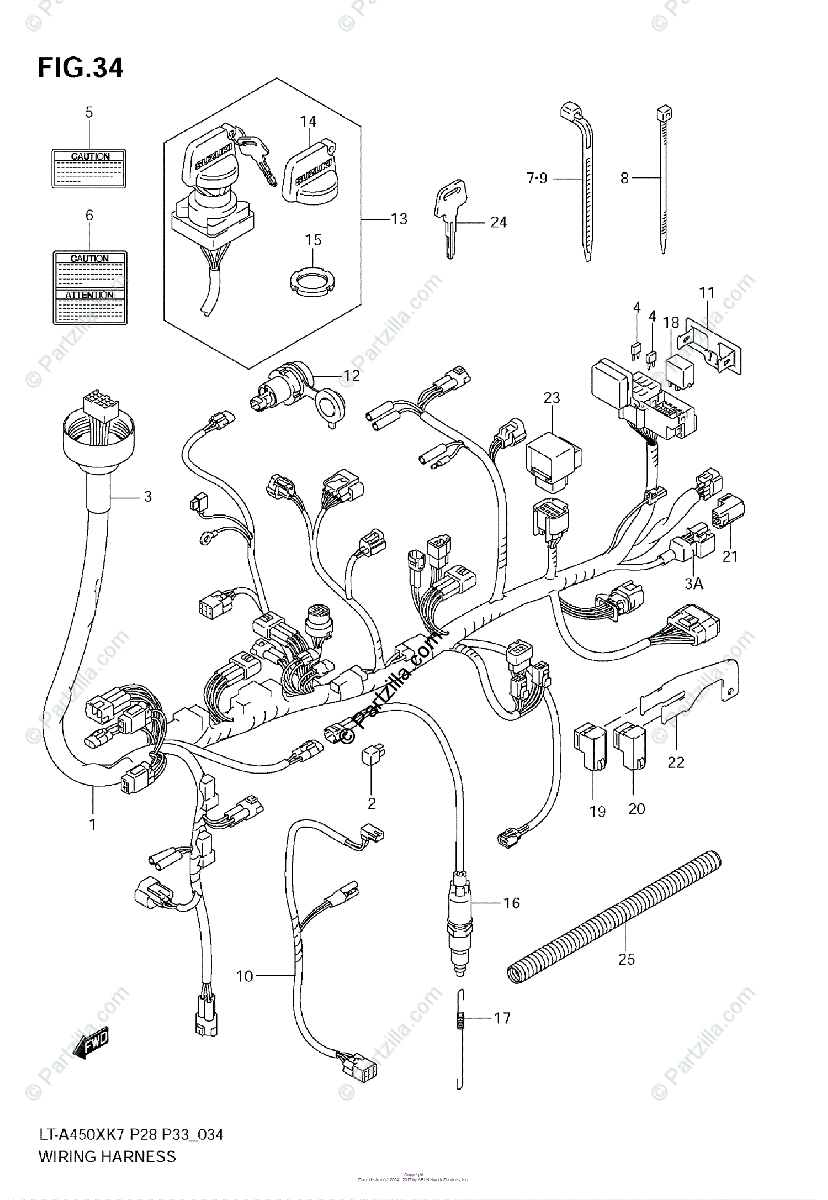 Suzuki ATV 2007 OEM Parts Diagram for Wiring Harness