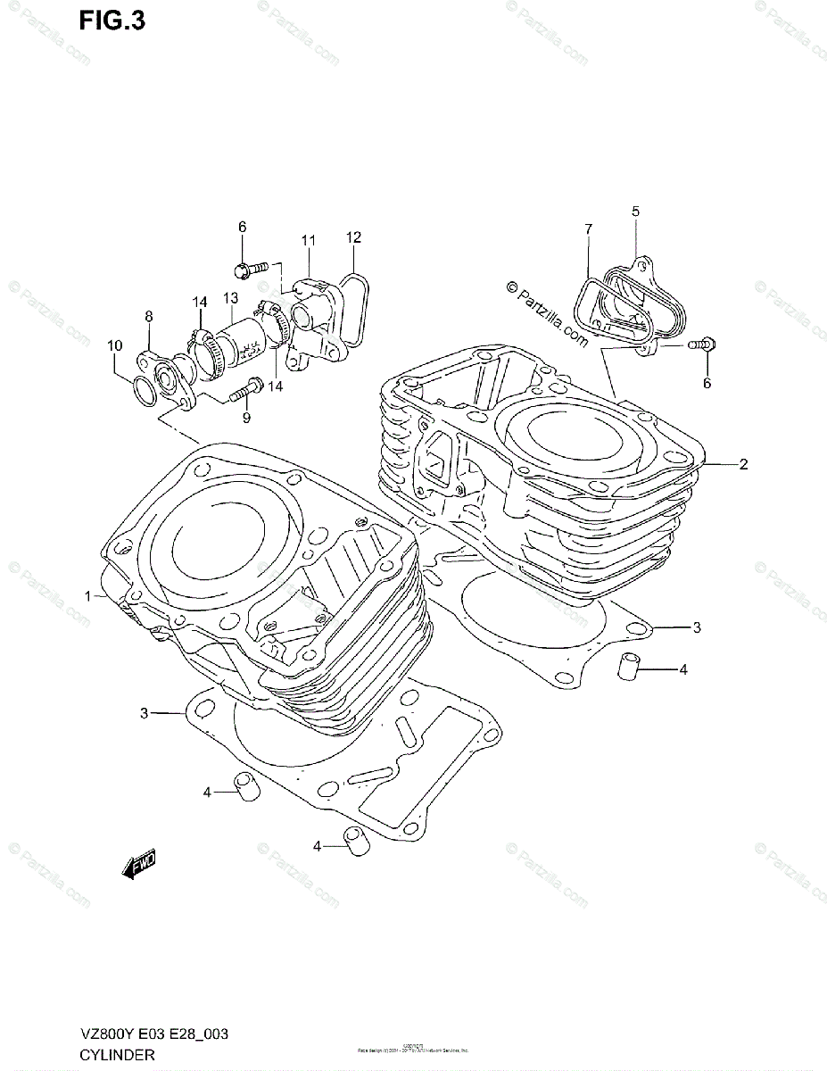 Suzuki Motorcycle 1998 OEM Parts Diagram for Cylinder