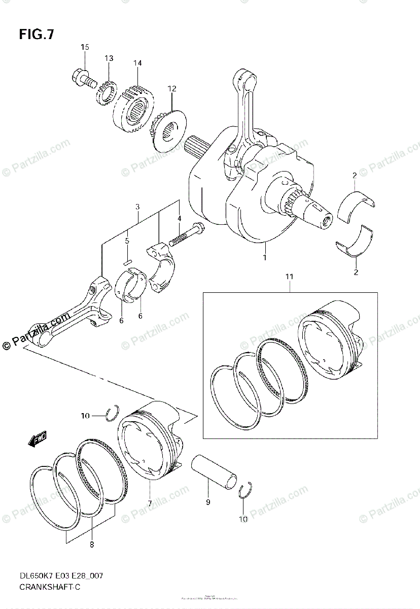 Suzuki Motorcycle 2009 OEM Parts Diagram for Crankshaft