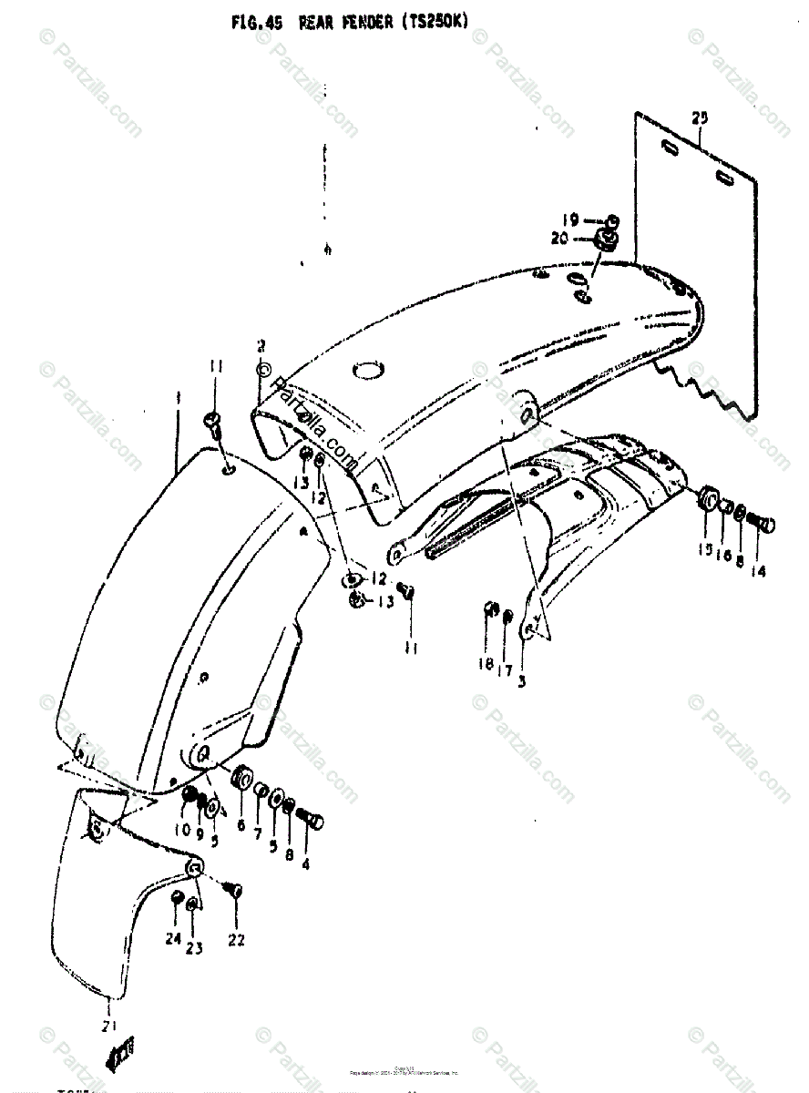 Suzuki Motorcycle 1974 OEM Parts Diagram for REAR FENDER