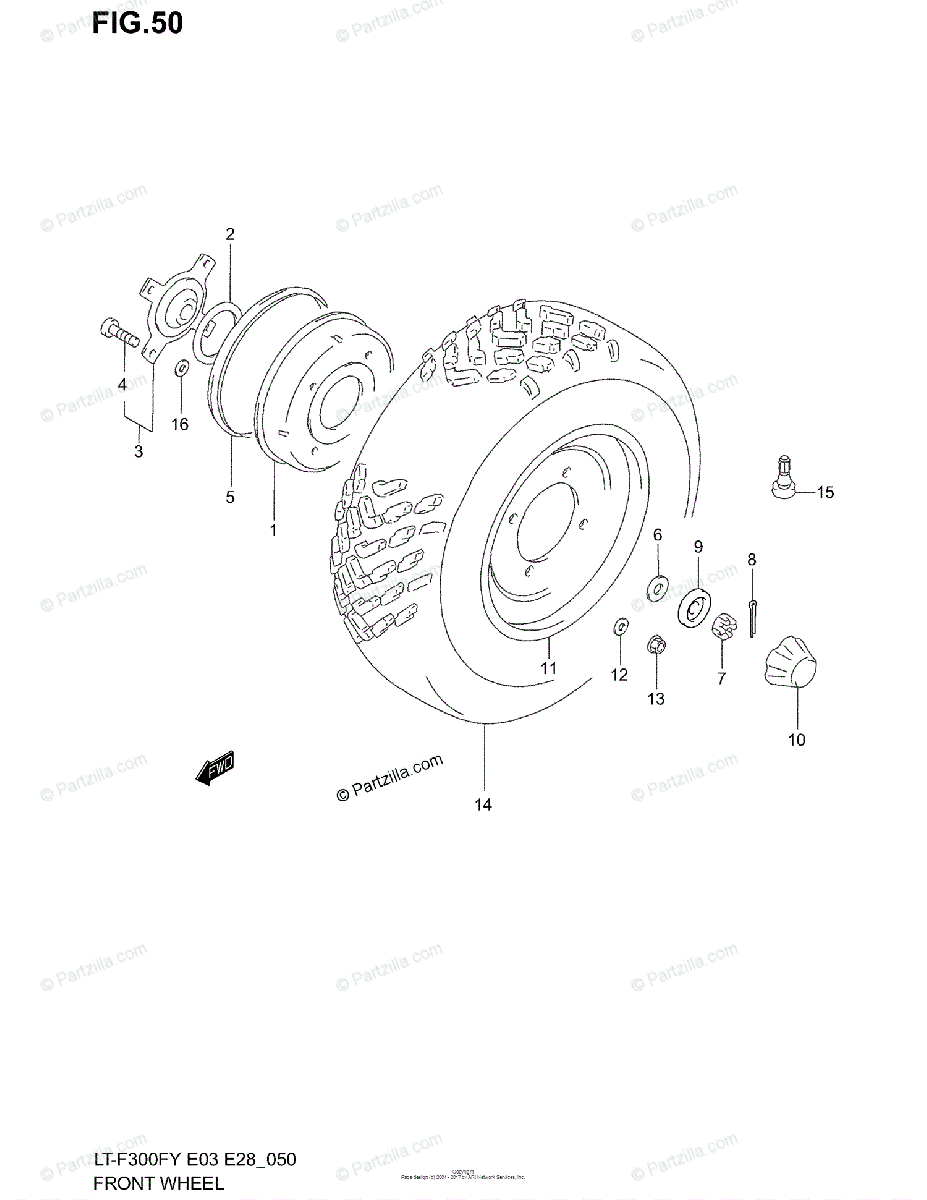 Suzuki ATV 1999 OEM Parts Diagram for FRONT WHEEL (MODEL X