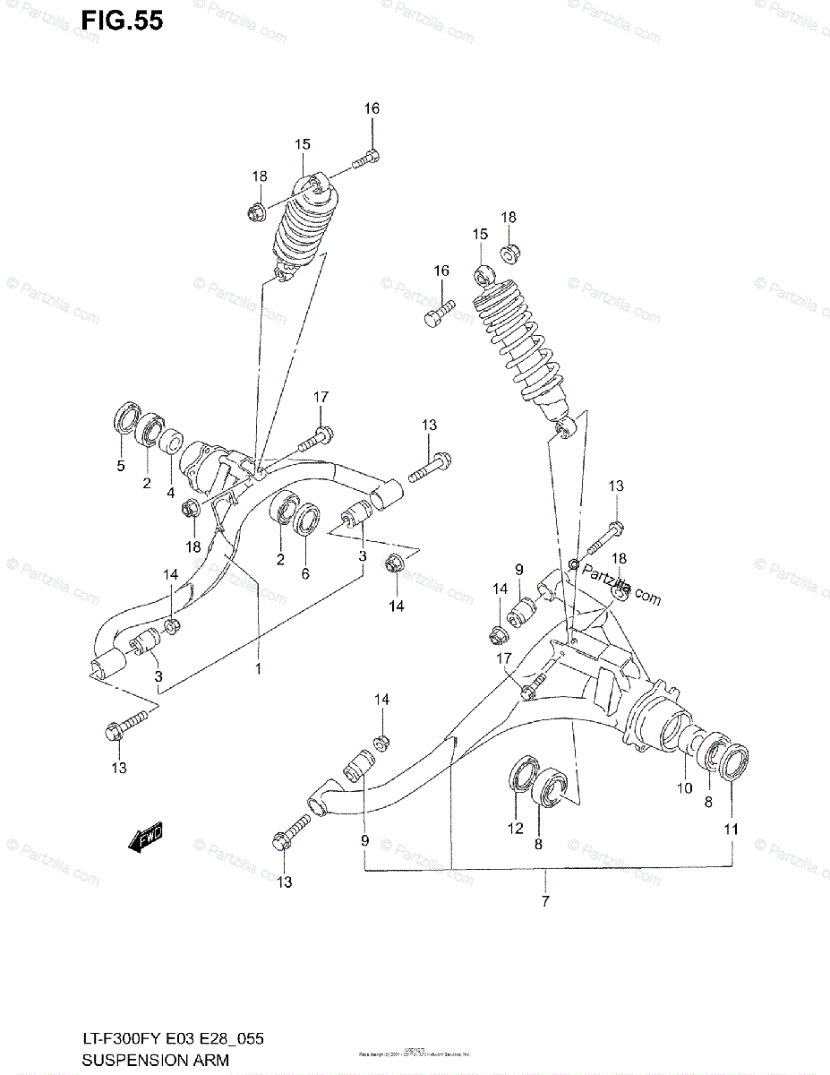 Suzuki ATV 2001 OEM Parts Diagram for Suspension Arm