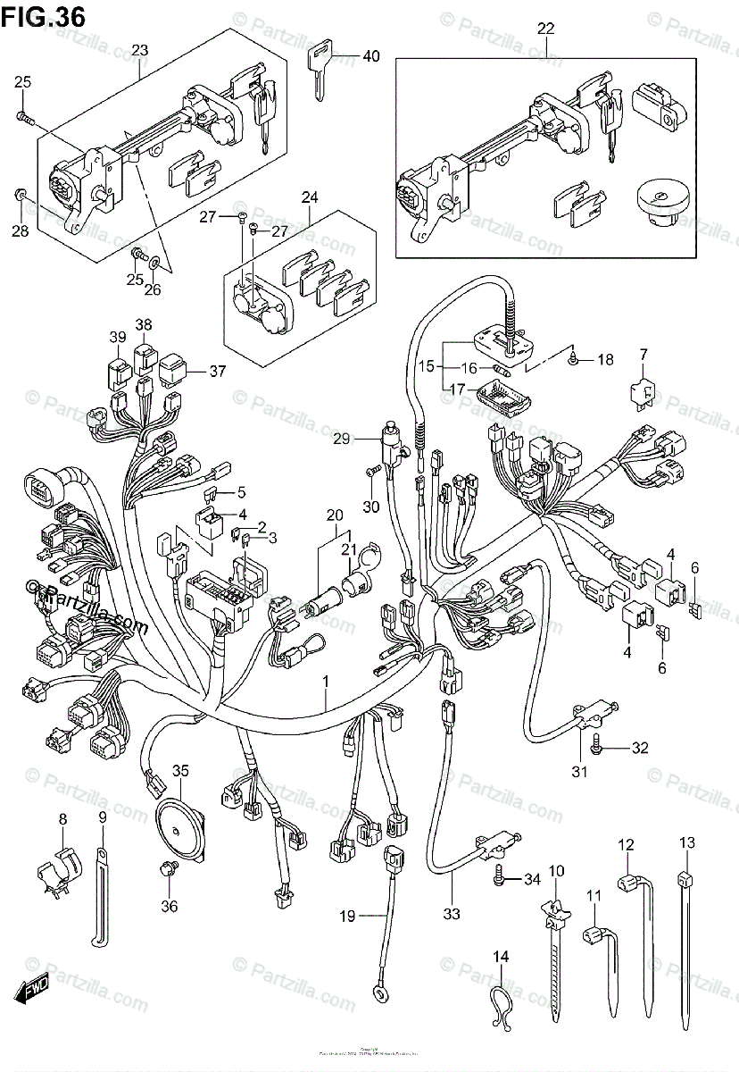 Suzuki Scooter 2004 OEM Parts Diagram for Wiring Harness