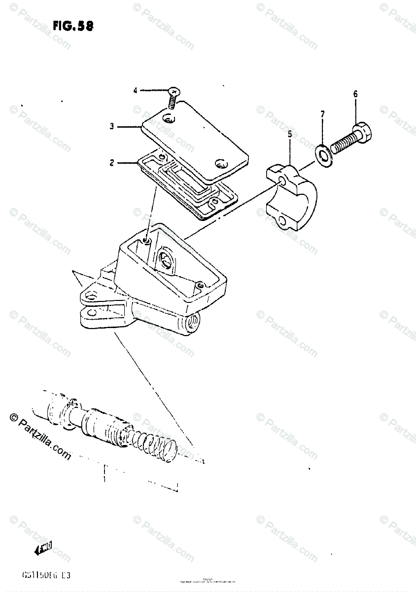 Suzuki Motorcycle 1985 OEM Parts Diagram for FRONT MASTER