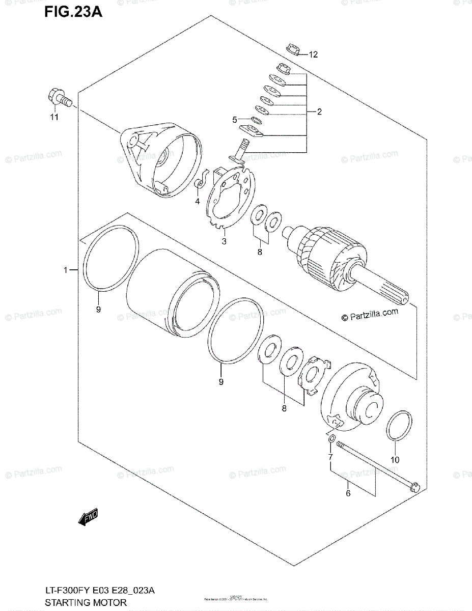 Suzuki ATV 2001 OEM Parts Diagram for STARTING MOTOR