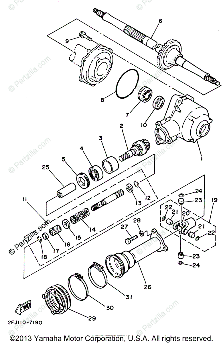 Yamaha ATV 1988 OEM Parts Diagram for Drive Shaft