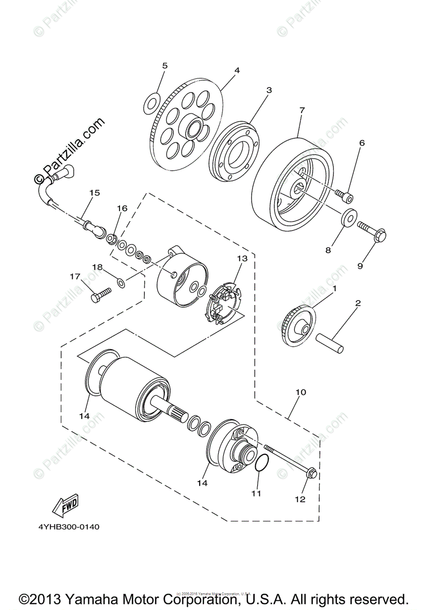 Yamaha Motorcycle 2000 OEM Parts Diagram for Starter