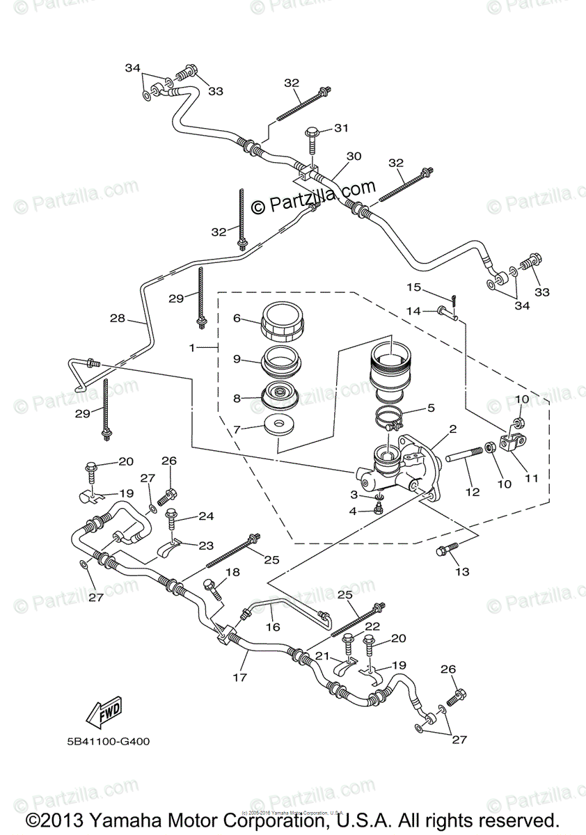 Yamaha Side by Side 2008 OEM Parts Diagram for Rear Master