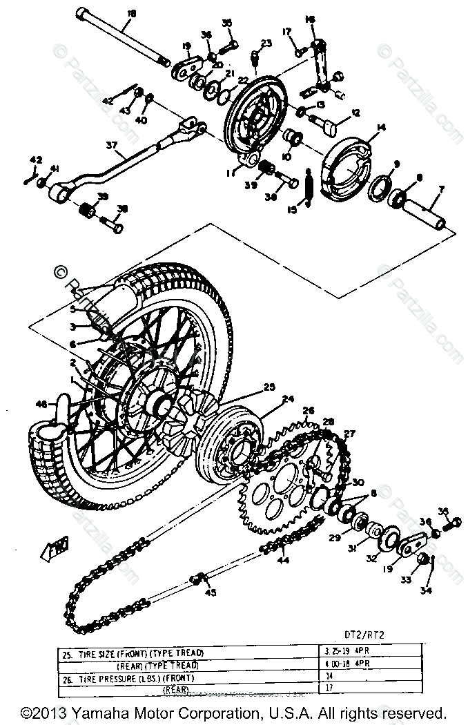 Yamaha Motorcycle 1972 OEM Parts Diagram for Rear Wheel