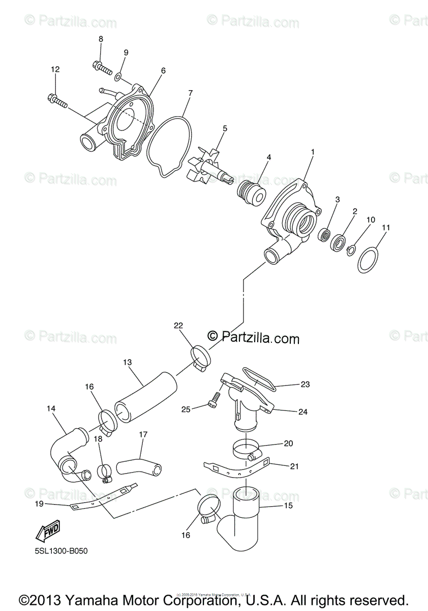 Yamaha Motorcycle 2004 OEM Parts Diagram for Water Pump