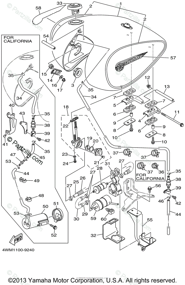 Yamaha Motorcycle 1999 OEM Parts Diagram for Fuel Tank