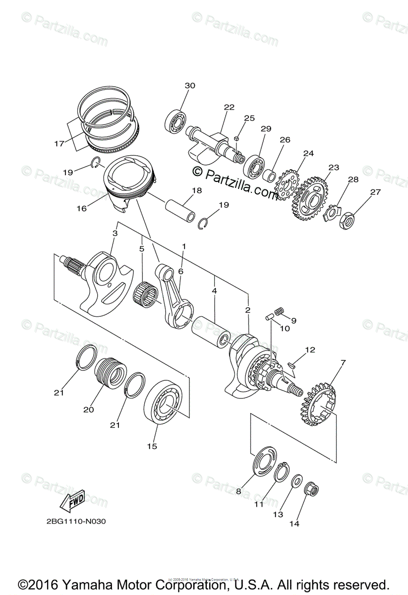 Yamaha ATV 2014 OEM Parts Diagram for Crankshaft Piston