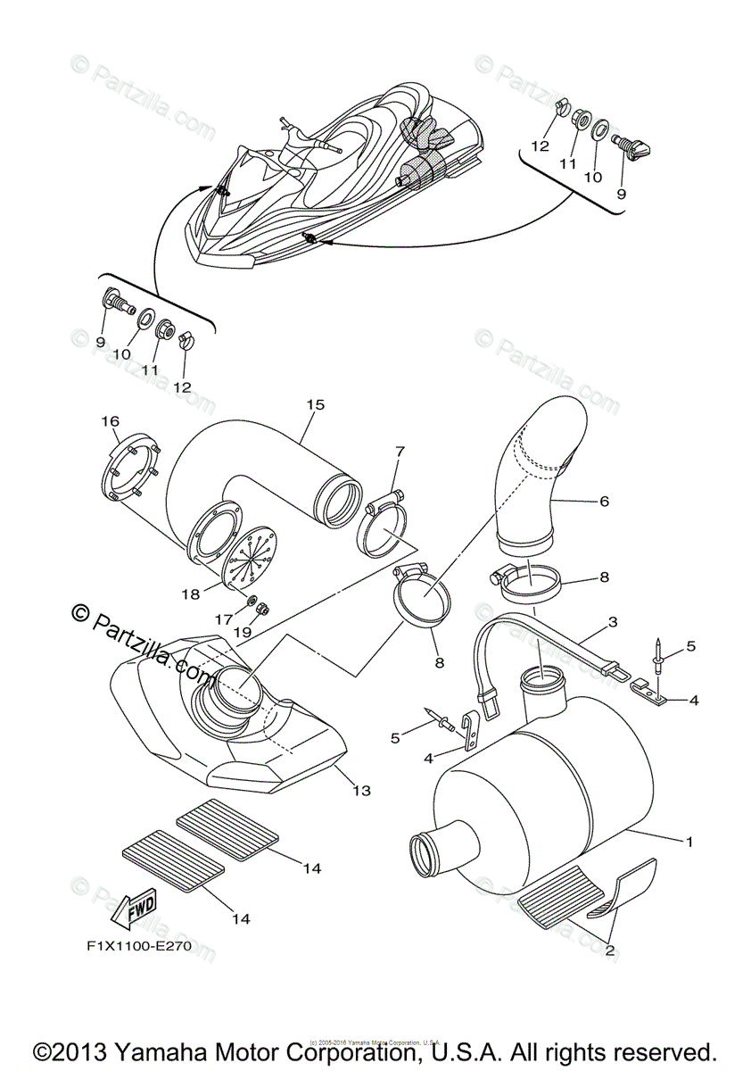 Yamaha Waverunner 2006 OEM Parts Diagram for Exhaust 3