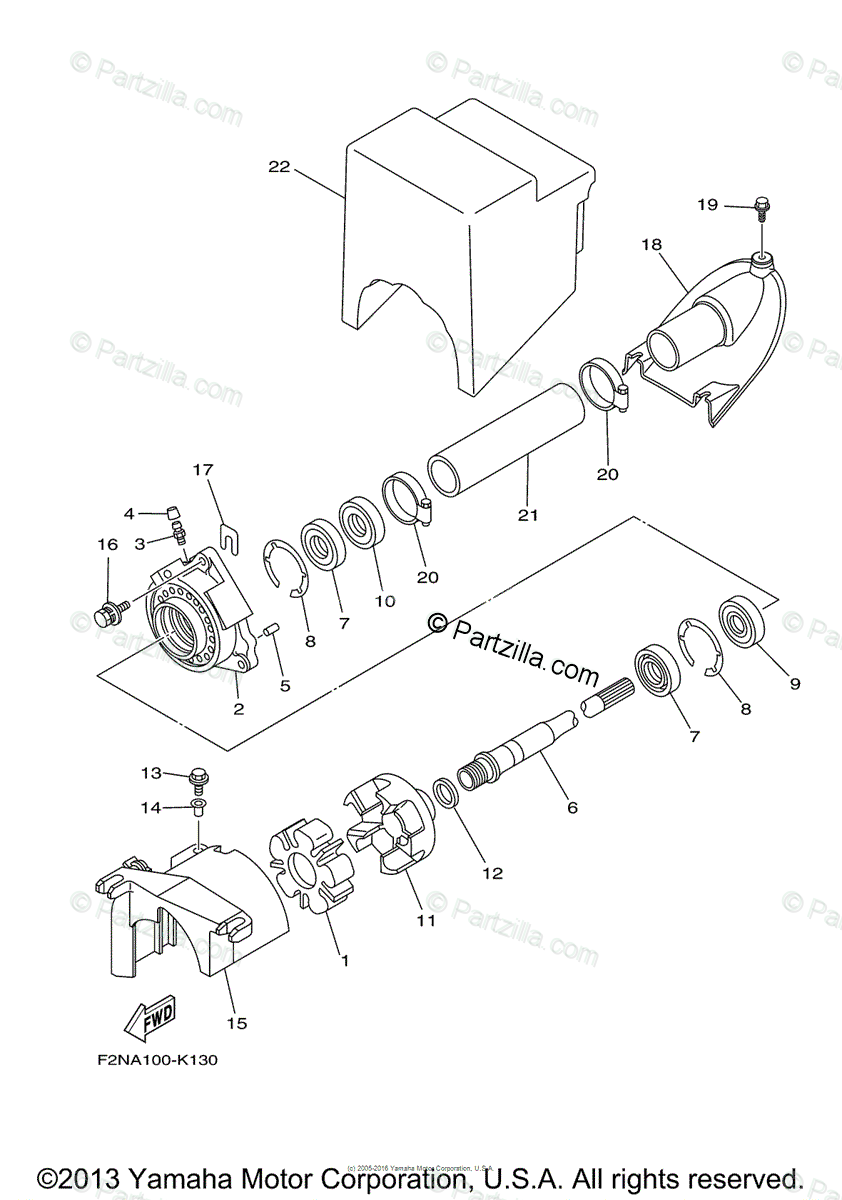 Yamaha Waverunner 2012 OEM Parts Diagram for Jet Unit 2