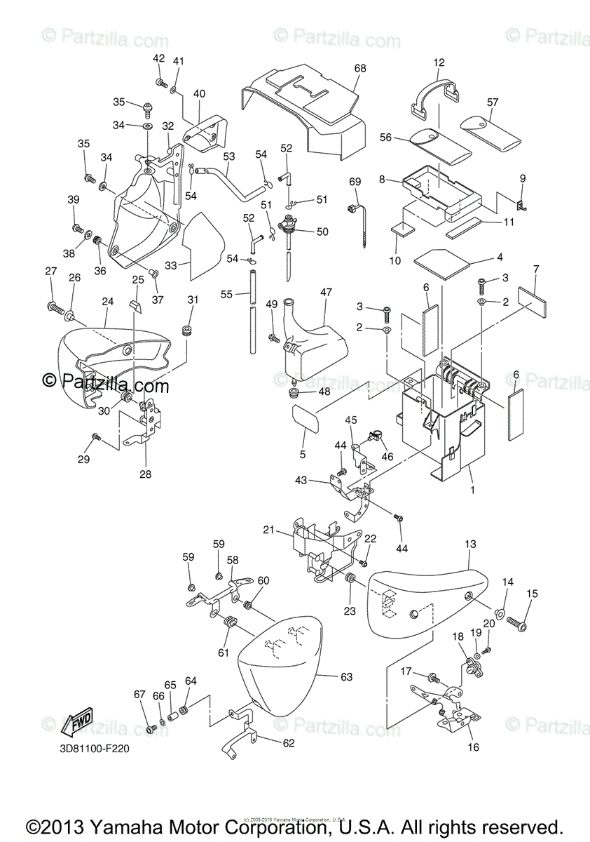 Yamaha Motorcycle 2007 OEM Parts Diagram for Side Cover