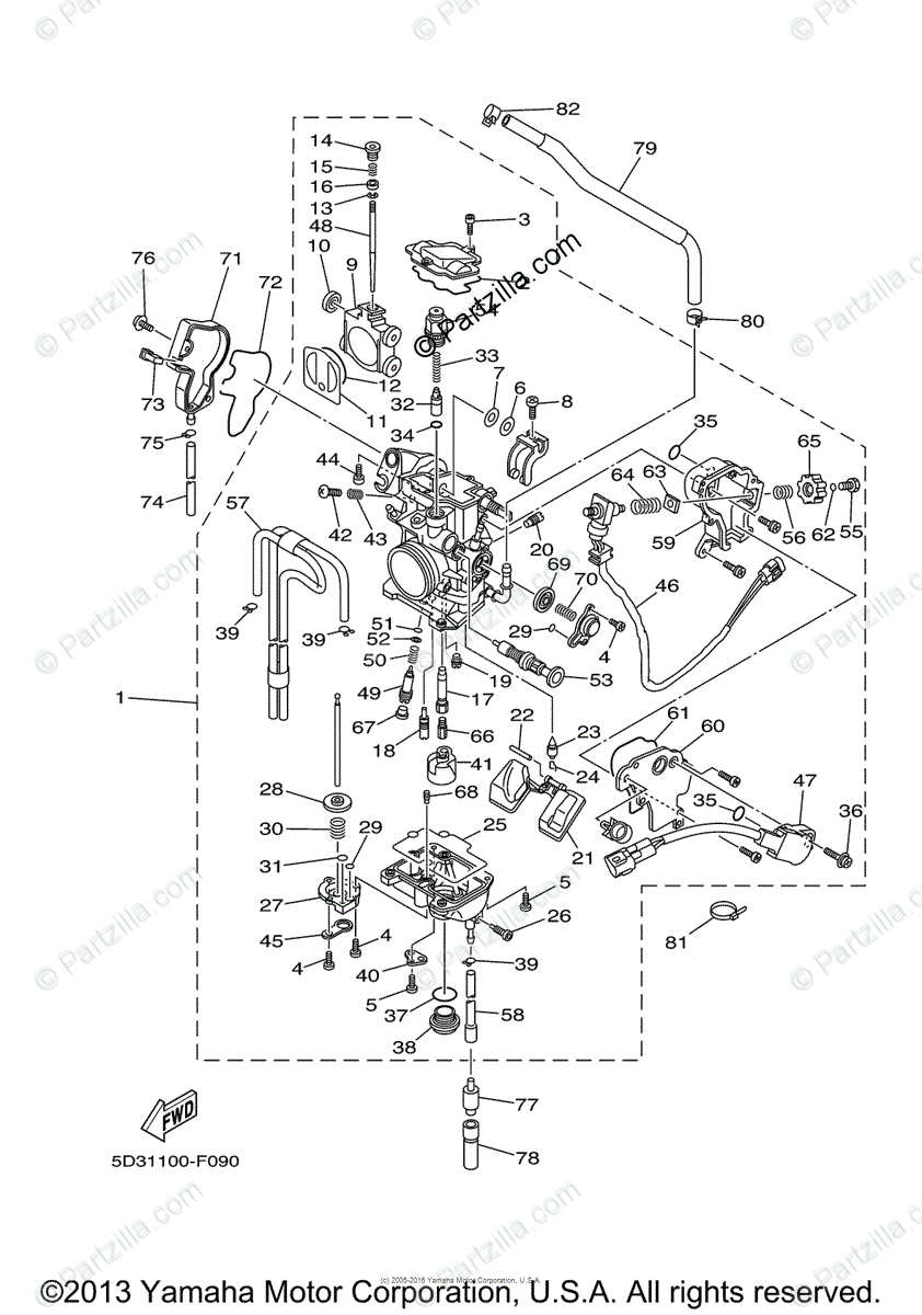Yamaha ATV 2007 OEM Parts Diagram for Carburetor