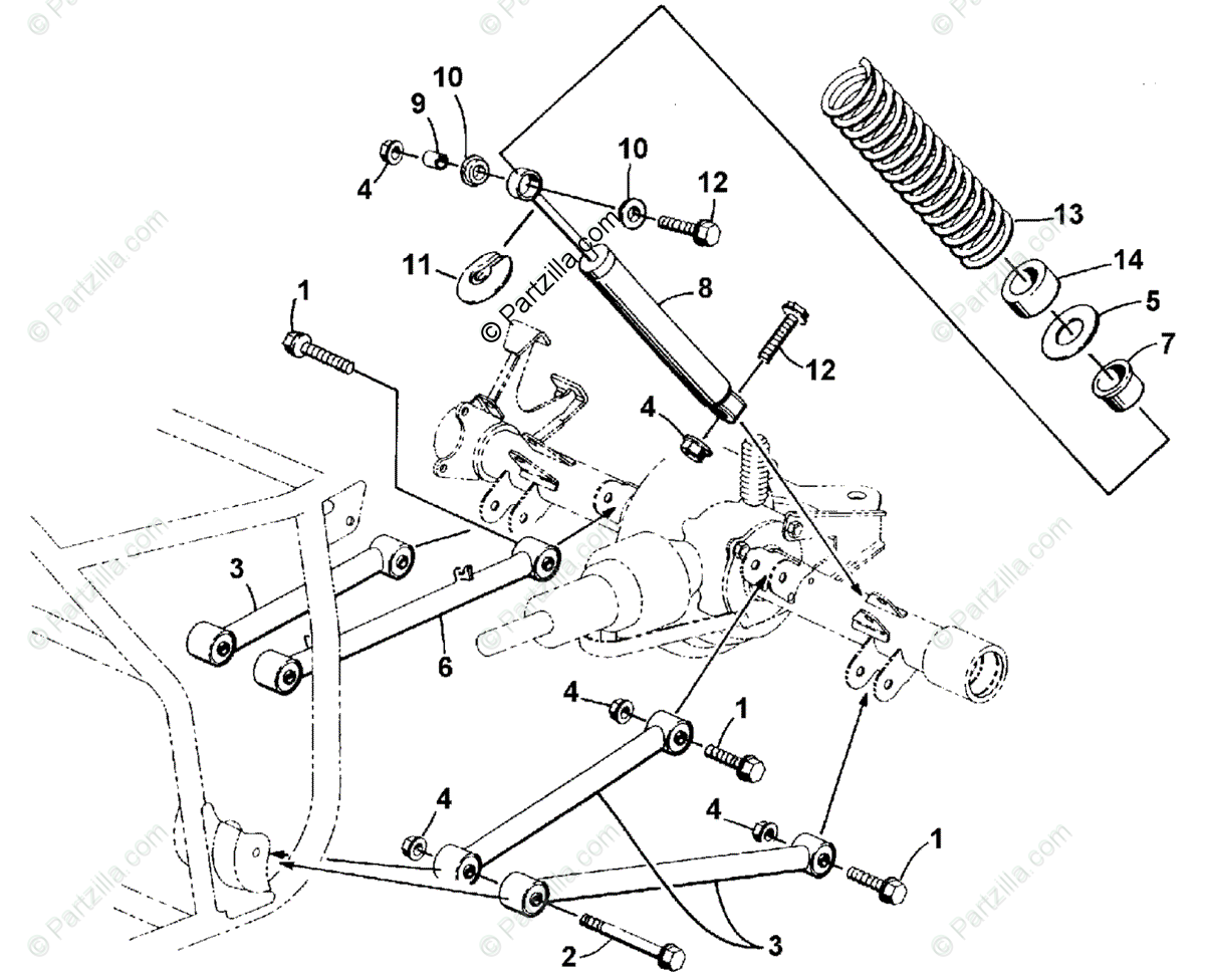 Arctic Cat ATV 2001 OEM Parts Diagram for Rear Suspension
