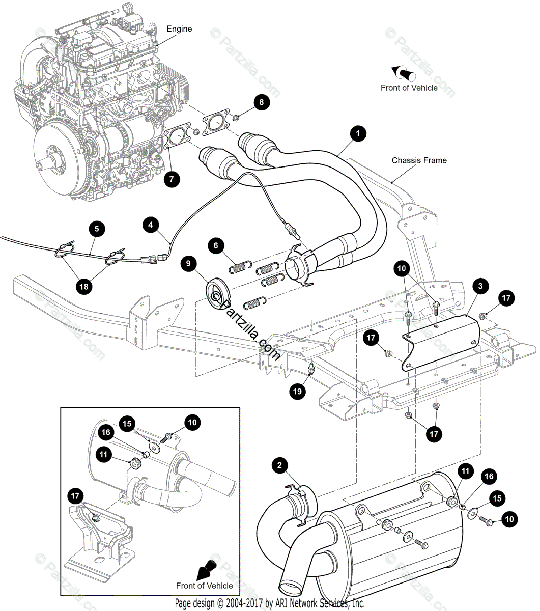 Arctic Cat Side By Side Oem Parts Diagram For Muffler