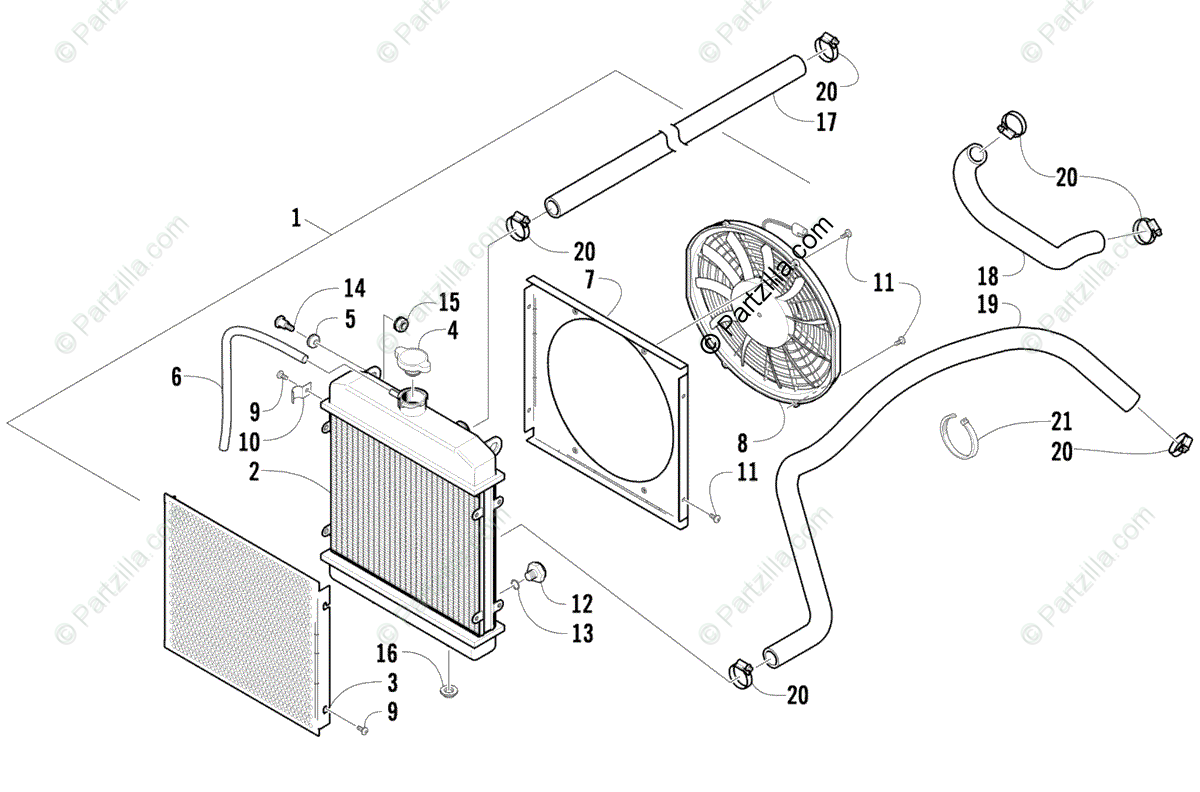 Arctic Cat ATV 2010 OEM Parts Diagram for Cooling Assembly