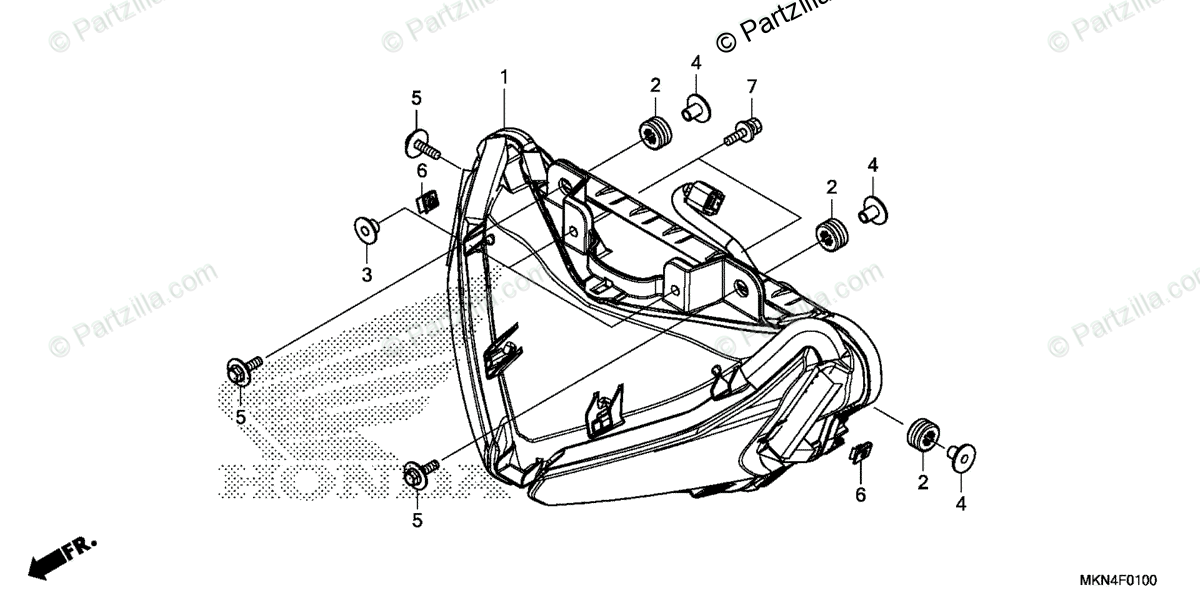 Honda Motorcycle 2020 OEM Parts Diagram for Headlight