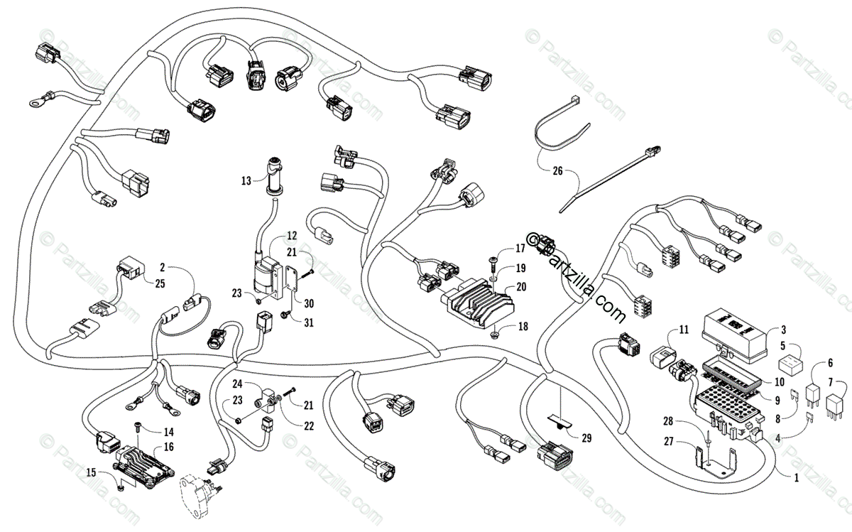 Arctic Cat Side by Side 2016 OEM Parts Diagram for Wiring