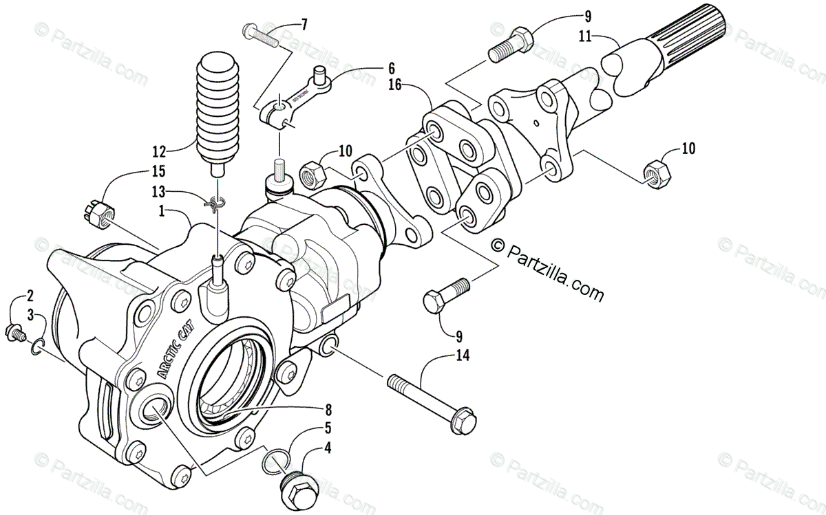 Arctic Cat ATV 2002 OEM Parts Diagram for Front
