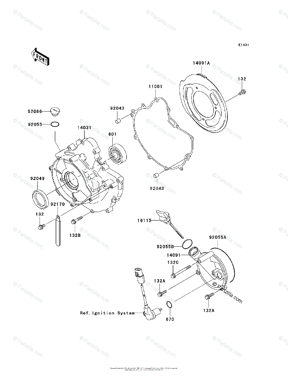 Kawasaki ATV 2004 OEM Parts Diagram for Engine Cover(s