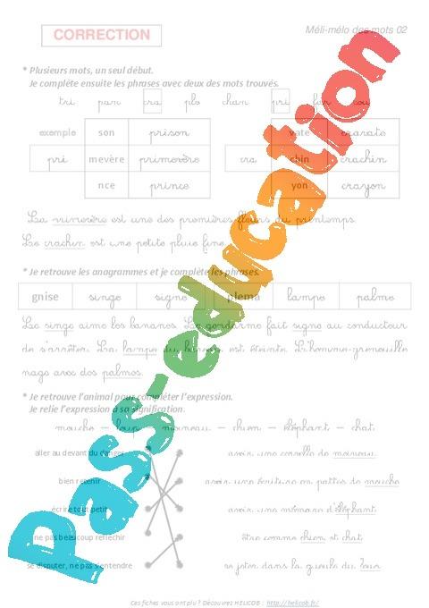 Vocabulaire ludique  Exercices  3eme Primaire  Pass