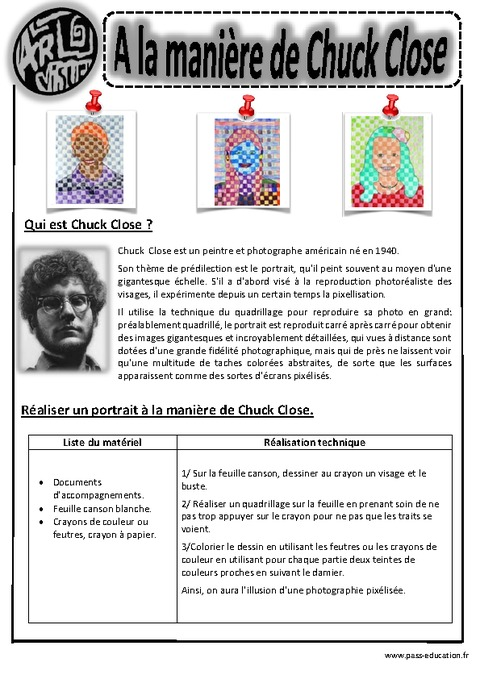 Chuck Close  Portraits  Ce1  Ce2  Cm1  Cm2  Arts visuels  Cycle 3  Pass Education