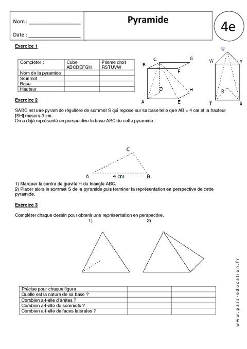 Pyramide  4me  Exercices corrigs  Gomtrie  Pass Education