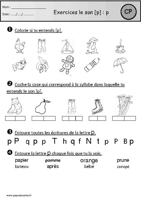 Exercices Son P Cp Etude Des Sons Cycle 2 Pass